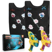 Water Guns & Water Activated Vests, Water Battle Guns Toy for Kids in The Backyard, Great Outdoor Water Fun for Kids Adults Pools Party Games, 2 Squirt Guns & 2 Vests, Ages 3-7 Years