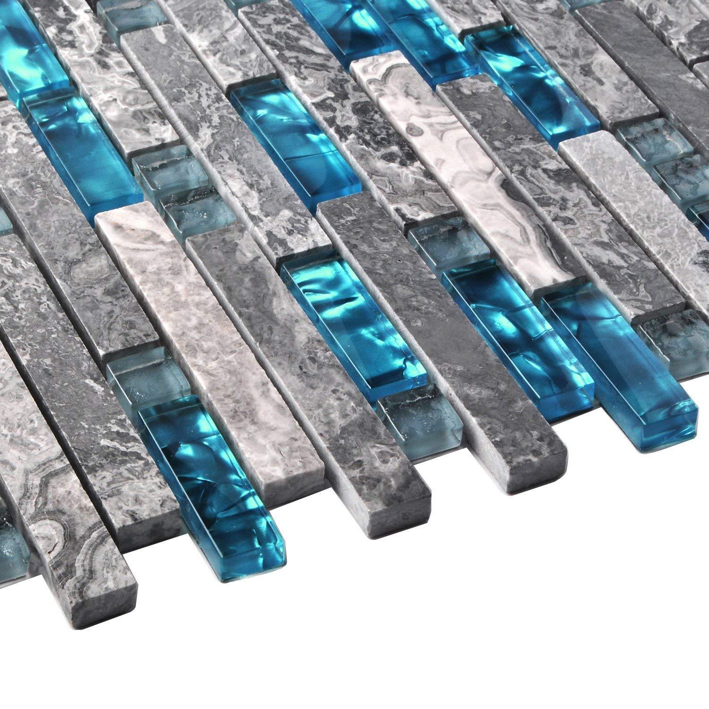 Happybuy Glass Backsplash Tiles for Kitchen 6 Sheets Glass Mosaic Tile Backsplash 12 Inchx12 Inch Glass Tiles for Backsplash 6 SqFt for Kitchen Bathroom backsplash