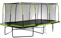 Mega Outdoor Trampoline with Fiber Flex Enclosure System, 10' X 17' | Big Trampoline for Kids | Rectangular Adult Trampoline | Safe & Fun Great Exercise Trampoline | Bonus 3-Step Ladder