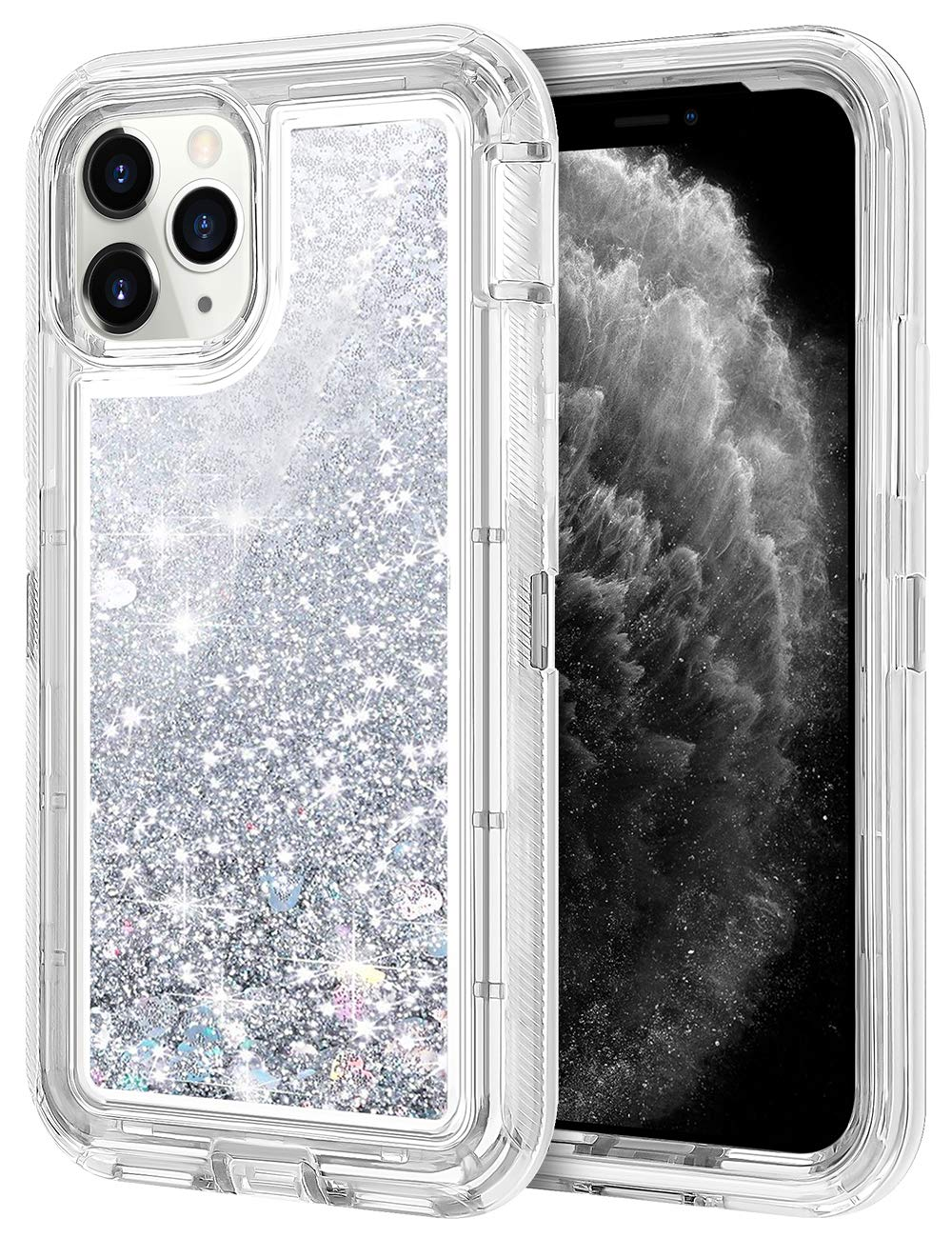 JAKPAK Case for iPhone 11 Pro Max Case for Girls Women Glitter Sparkle Case Heavy Duty Shockproof Protective Shell Dual Layer PC Bumper TPU Back Case for iPhone 11 Pro Max 6.5 inches Silver