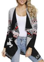 Sidefeel Women Christmas Reindeer Geometric Open Front Long Sleeve Cardigan