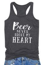 Beer Never Broke My Heart Tank Top Women Funny Letter Printed Tee Sleeveless Backless Summer Casual Vest Beer T-Shirt… Grey