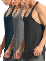 Men's Tank Tops 3 Pack Workout Gym Muscle Tee Sleeveless Dry Fit Y-Back Athletic