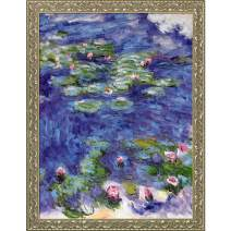 """overstockArt Water Lilies with Rococo Silver Framed Oil Painting, 45.5"""" x 35.5"""", Multi-Color"""