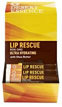 Desert Essence Lip Rescue Ultra Hydrating w/ Shea Butter - 0.15 Oz - Pack of 24,  Soft Moisturizer Balm Stick, Ginkgo Biloba Extract- Soothes Dry Or Cracked Lips - Vitamin E - Beeswax - Peppermint Oil
