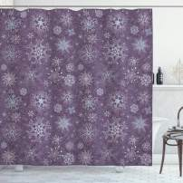 "Ambesonne Eggplant Shower Curtain, Christmas Inspired Flowers Snowflakes and Swirls in a Violet Delicate Environment, Cloth Fabric Bathroom Decor Set with Hooks, 75"" Long, Violet"
