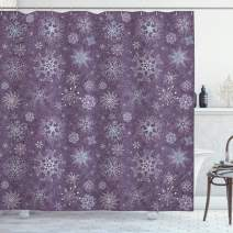 """Ambesonne Eggplant Shower Curtain, Christmas Inspired Flowers Snowflakes and Swirls in a Violet Delicate Environment, Cloth Fabric Bathroom Decor Set with Hooks, 75"""" Long, Violet"""
