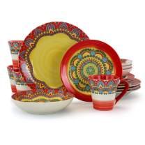 Elama Mandala Round Stoneware Multicolor Dinnerware Set, 16 Piece, Red