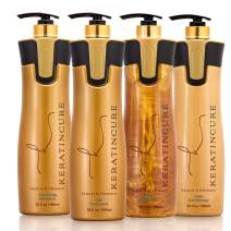 Keratin Cure Best Treatment Gold and Honey Bio Protein Silky Soft Formaldehyde Free Complex with Argan Oil Nourishing Straightening Damaged Dry Frizzy Coarse Kit (32 oz Kit)
