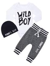 Newborn Baby Boy Clothes Outfit Short Sleeve Onesies Bodysuit + Baby Boy Pants + Hat 3Pcs Outfits Set