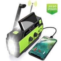 2020 Upgraded Emergency Flashlight Radio,AM/FM/NOAA Weather Solar Crank Radio with 4000 mAh Replaceable Li-ion Battery, Sensor Reading Lamp,3 Modes Flashlight,Phone Charger for Hurricanes, Tornadoes