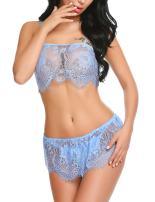 ADOME Women Sexy Lingerie Set Lace Camisole Short Sets Sleepwear Sheer Chemise Nightwear