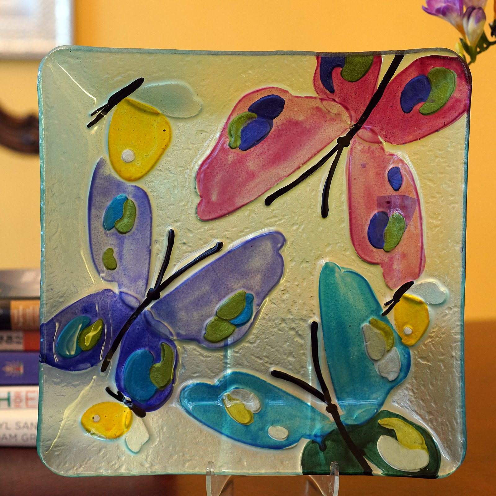 WELLAND Hand Painted Platter, Butterfly Pattern , 11 Inches, Square