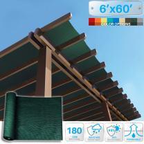 Patio Paradise 6' x 60' Sunblock Shade Cloth Roll,Dark Green Sun Shade Fabric 95% UV Resistant Mesh Netting Cover for Outdoor,Backyard,Garden,Plant,Greenhouse,Barn
