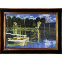 """overstockArt The Road Bridge at Argenteuil with Opulent Framed Oil Painting, 45"""" x 33"""", Multi-Color"""