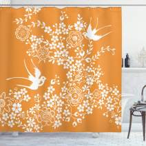 "Ambesonne Japanese Shower Curtain, Oriental Floral Japanese Style Flying Birds Pastel Colored Spring Pattern, Cloth Fabric Bathroom Decor Set with Hooks, 70"" Long, Marigold White"