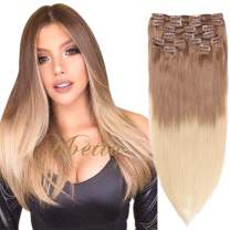 Remy Clip in Hair Extensions Golden Brown to Blonde Highlighted Clip in Real Hair Extensions Double Weft Straight Clip in Extensions for Women 8Pcs 120G 18 Inch