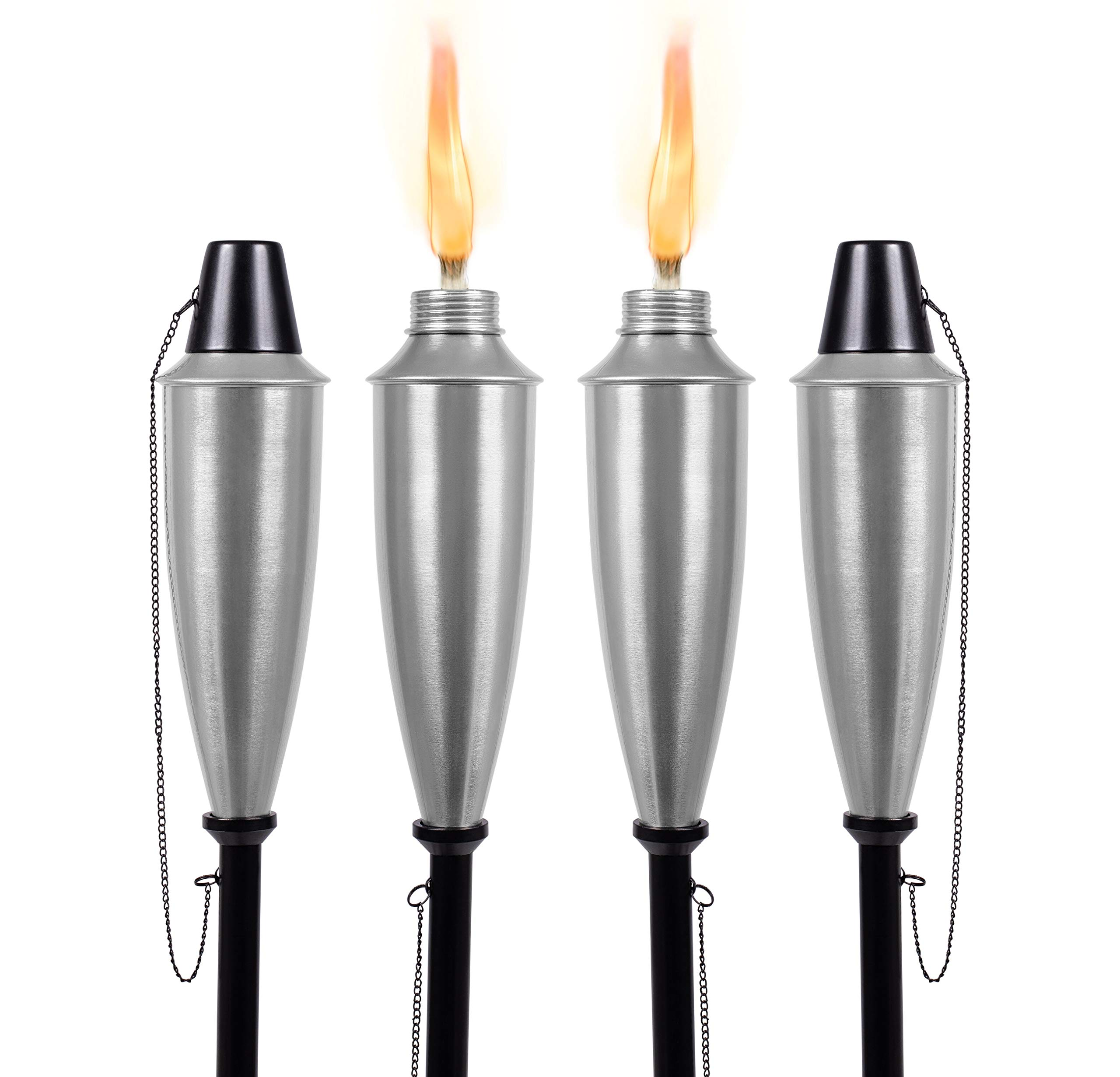 BIRDROCK HOME 4 Pack Round Outdoor Torches - Satin Silver - Flame Light Torch - Backyard Garden Patio Lighting - Metal Lamp - Decorative Urban Lantern