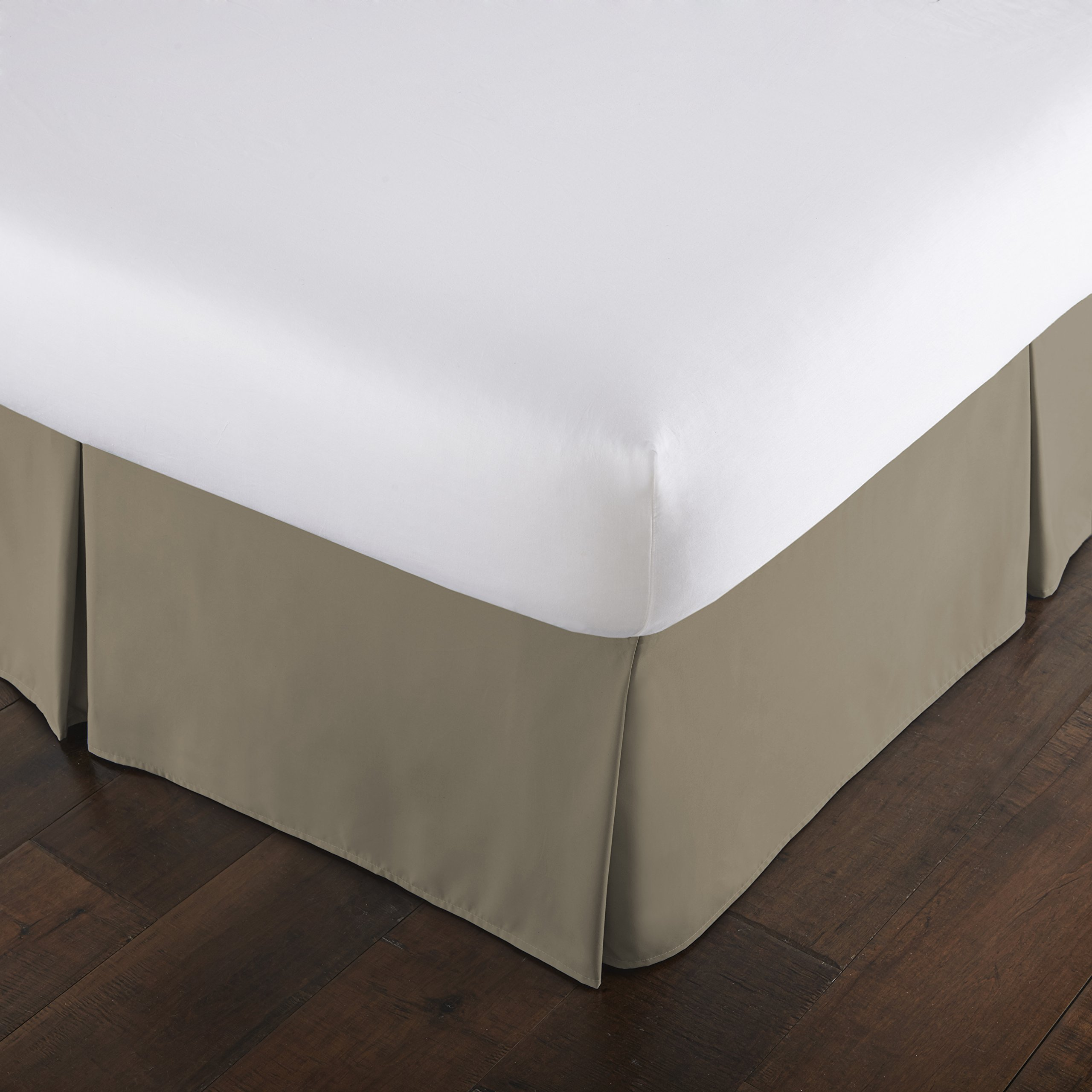 Southshore Fine Linens - VILANO Springs - 15 inch Drop Pleated Bed Skirt, Taupe, Twin