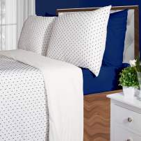 Infinite Weaves Tufted Comforter Set - Woven Texture Jacquard 100% Cotton Pre-Washed Soft & Cozy Modern Bedding Sheared Design 2-Piece Twin White with Tufted Navy Dots