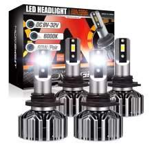 NOVSIGHT LED 9005/HB3 High Beam 9006/HB4 Low Beam Headlight Combo, 12000 Lumens 60W Super Bright Headlights Conversion Kits, 6500K Cool White IP 68 Water proof, Pack of 4