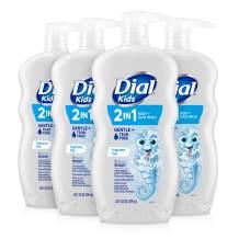 Dial Kids 2-in-1 Body+Hair Wash, Fragrance Free, 24 fl oz (Pack of 4)