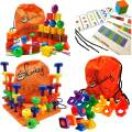 Skoolzy Montessori Toys for Toddlers - 102pc Educational Toys: Lacing Beads, Jumbo Nuts and Bolts & PEG Board Set | Occupational Therapy Matching Lacing & Stacking Fine Motor Skills Kit