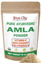 Blue Lily Organics Amla (Amalaki / Indian Gooseberry) Fruit Powder. 1 lb (16 oz)-100% Pure, Organic. Antioxidant, Natural Vitamin C Powerhouse. Digestion, Skin, Hair. Bulk Stand-up Pouch.