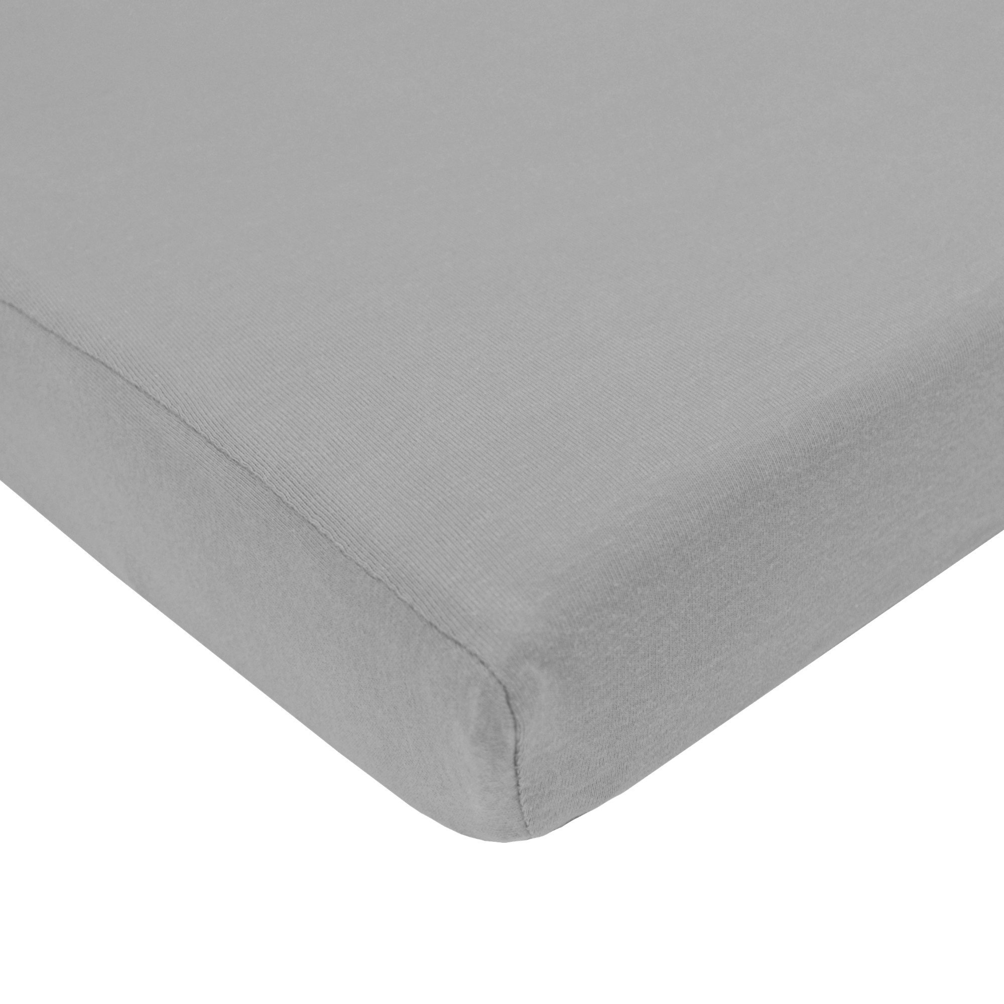 """TL Care Supreme 100% Natural Cotton Jersey Knit Fitted Crib Sheet for Standard Crib and Toddler Mattresses,Grey, 28"""" x 52"""", Soft Breathable, for Boys"""