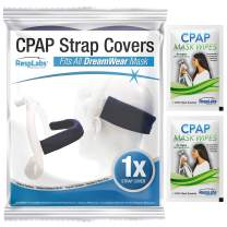 RespLabs CPAP Strap Covers, for DreamWear CPAP Masks, Back of The Head - Reusable Soft Fleece CPAP Headgear Strap Pads, Fabric Wraps - Includes 2 CPAP Travel Wipes and CPAP Comfort Hacks E-Book.