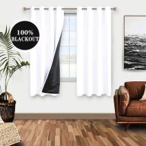 WONTEX 100% White Blackout Curtains for Bedroom - Thermal Insulated, Energy Saving and Noise Reducing Lined Window Curtain Panels for Living Room, 52 x 45 inch, Set of 2 Grommet Curtains