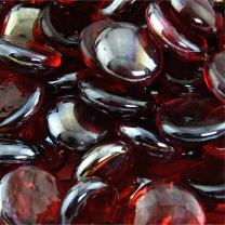 Ruby - Fire Glass Beads for Indoor and Outdoor Fire Pits or Fireplaces | 10 Pounds | 3/4 Inch, Semi-Reflective