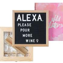 Letter Board with Letters 10x10 Felt Letterboard Accessories |+Organizer +Pre-Cut +Large Letters +Stand| Black, Letterboards, Changeable, Message Board, Box, Baby Announcement, First Day of School