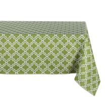 DII 100% Polyester, Spill Proof, Machine Washable, Tablecloth for Outdoor Use, 60x120, Fresh Spring Lattice, Seats 10 to 12 People, Green