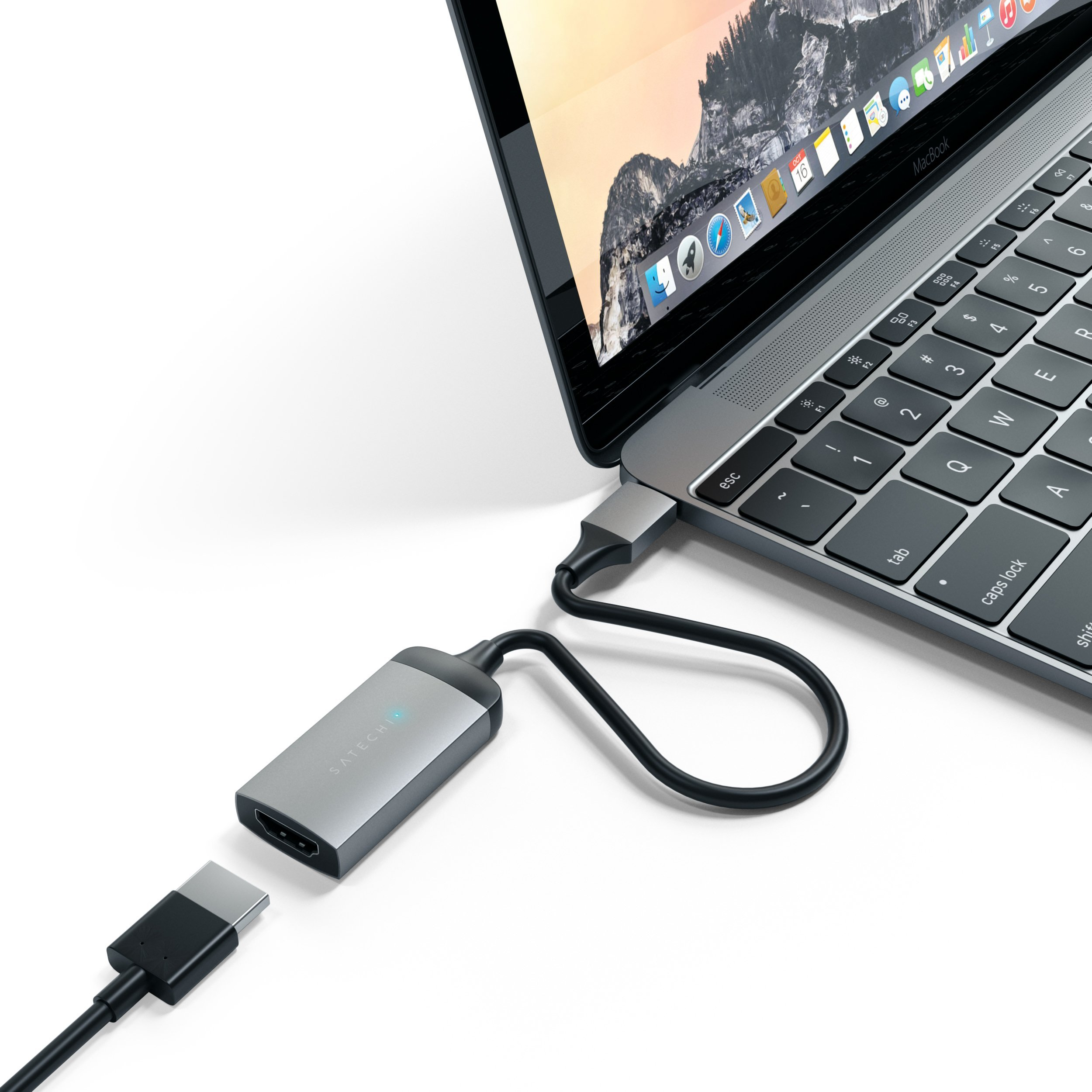 Satechi Aluminum Type-C HDMI Adapter 4K (60Hz) - Compatible with 2020 MacBook Pro, 2020 MacBook Air, 2020 iPad Pro and More (Space Gray)