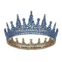 SWEETV Jeweled Queen Crown for Women, Full Round Baroque Tiaras and Crowns, Crystal Costume Party Headpieces for Wedding Birthday Halloween Prom,Blue
