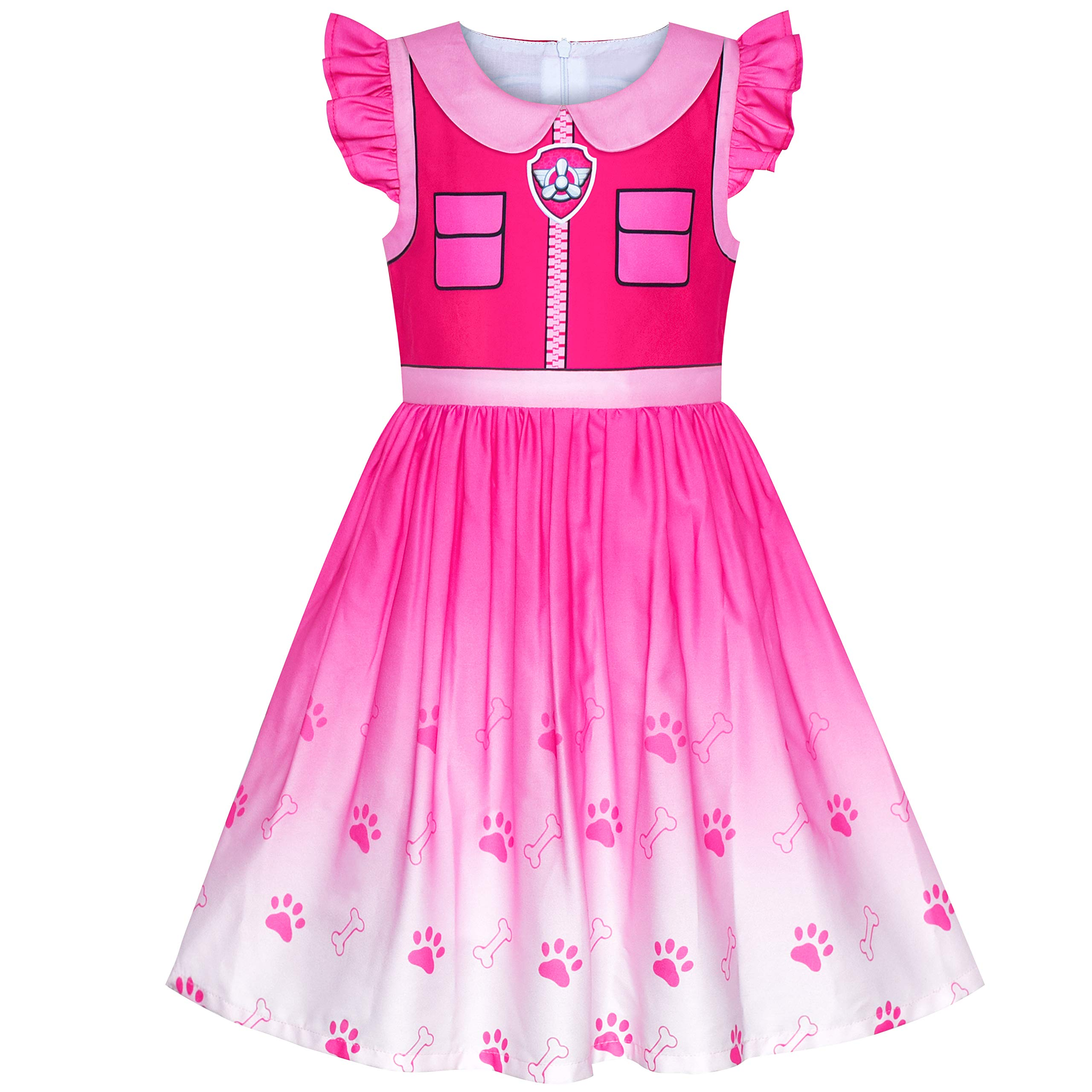 Sunny Fashion Girls Dress Paw Marshall Costume Patrol Halloween Party Size 3-7