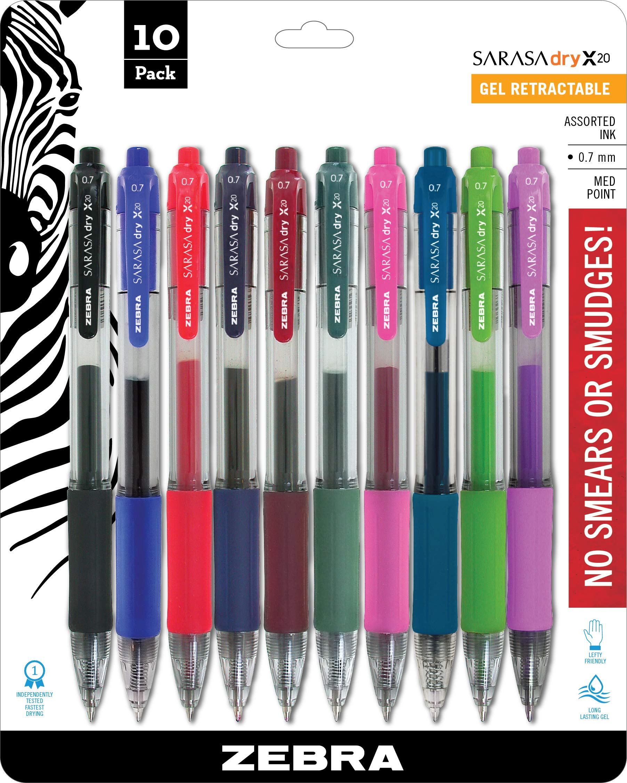Zebra 46881 Sarasa Retractable Gel Ink Pens, Medium Point 0.7mm, Assorted Color Rapid Dry Ink, 10-Count