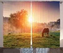 "Ambesonne Rustic Curtains, Horses Grazing Pasture at Sundown in Sun Beams Carpathians Ukraine, Living Room Bedroom Window Drapes 2 Panel Set, 108"" X 84"", Amber Hunter Green"