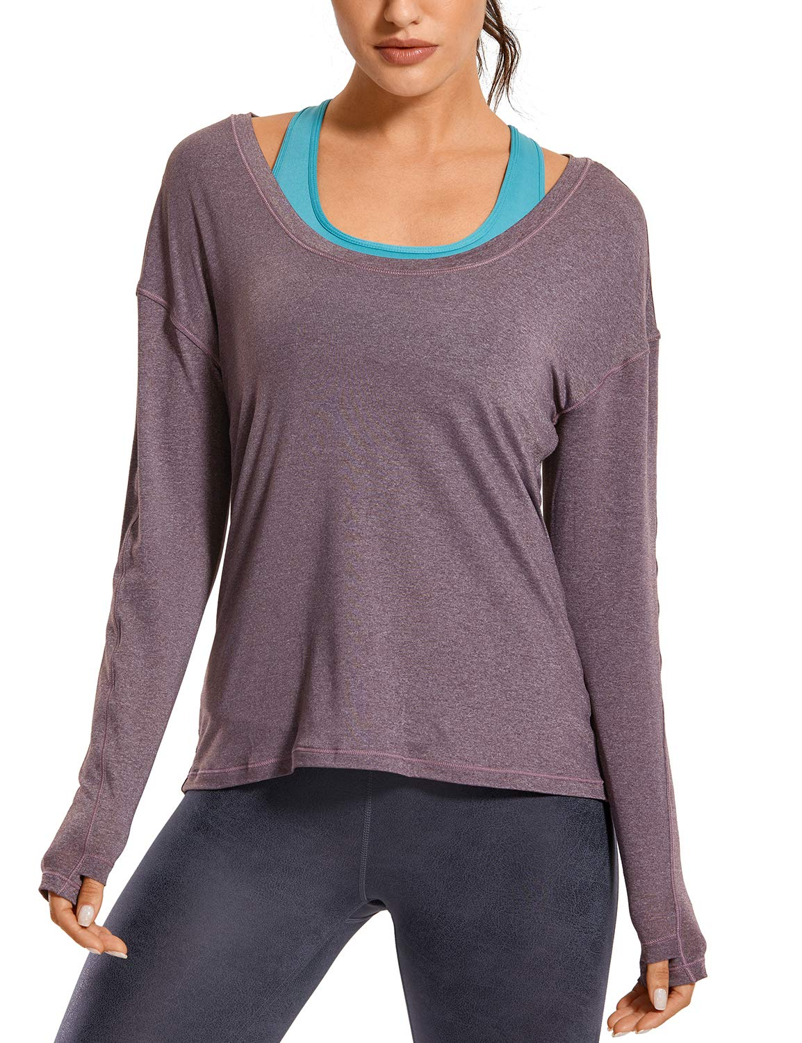 CRZ YOGA Women's Lightweight Heather Workout Tops Long Sleeve Tees Yoga Shirts Loose Fit with Thumbholes