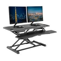 """TechOrbits Standing Desk Converter - 37"""" Stand Up Desk Riser - Tabletop Sit Stand Desk Fits Dual Monitors - Two Tiered Height Adjustable Workstation with Removal Keyboard Tray"""