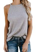 Chase Secret Women's Crew Halter Neck Sleeveless Knit Cami Tank Tops Summer Casual Loose Shirts Blouses with Pocket