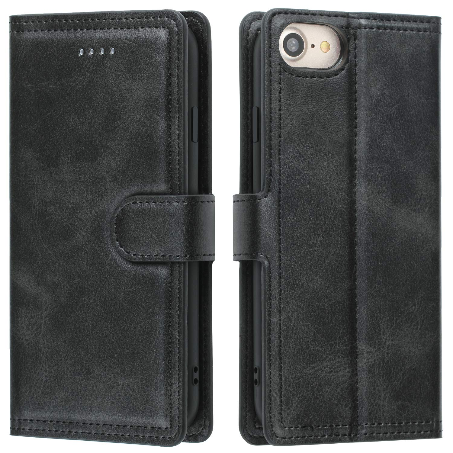 EYZUTAK Double Line Leather Case for iPhone 6 Plus iPhone 6S Plus iPhone 7 Plus iPhone 8 Plus, Solid Color Full Coverage Premium Flip Leather Case with Magnetic Closure Kickstand Card Slots - Black