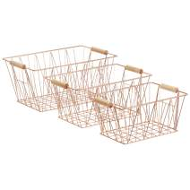 AmazonBasics Wire Storage Baskets - Large Set of 3, Copper