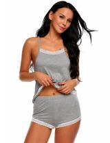 Avidlove Womens Soft Sleeveless Lace Patchwork Slim Sleepwear Halter Nightwear Pajamas Set