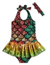 RAISEVERN Baby Girls One Piece Swimsuit Beach Bathing Suit Ruffles Mermaid Swimwear with Headband 1-5T