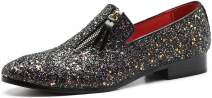Men's Luxury Slip-On Leather Loafer Sequins Tuxedo Glitter Noble Shoes Textured Wedding Dress Shoes