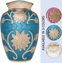Liliane Memorials Blue and Gold Flower Funeral Urn Cremation Urn for Human Ashes - Brass- Suitable for Cemetery Burial or Niche- Large Size for Adults up to 200 lbs - Rose Lisette