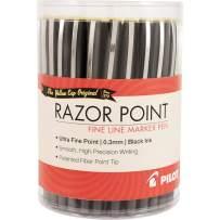 Pilot Razor Point Fine Line Marker Pens, Ultra Fine Point, Black, 36 Count Tub (84064)
