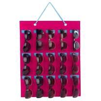 PACMAXI Sunglasses Storage Organizer, Wall Pocket Mounted by Sunglasses, Hanging Eyeglasses Storage Holder, Eyewear Display. (Rose red + ice Blue, 15 Slot)